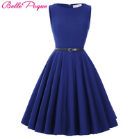 S 3XL Women Dress Robe Vintage 1950s 60s Casual Summer Party Dress Jurken Tunic Green Blue