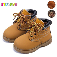 Comfy Kids Child Snow Boots Leather Shoes For Girls Boys Boots Plus Velvet Warm Baby Kids