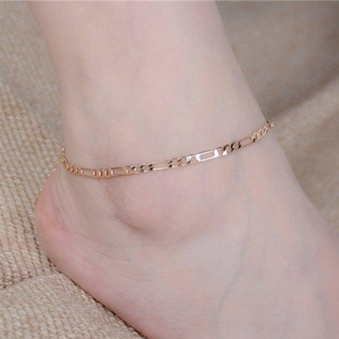 Ювелирные изделия, ножной браслет, простой модный ножной браслет из нержавеющей стали, браслет на ногу, розовое золото и серебро, не выцветает, пляжный браслет для женщин