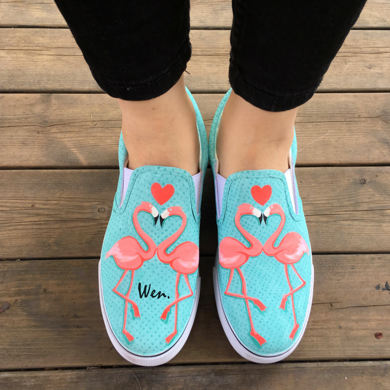 Wen Original Custom Design Hand Painted Shoes Flamingos Slip On Light Cyan Canvas Sneakers for Women Girls Birthday Gifts wen original high top sneakers steam punk hand painted unisex canvas shoes design custom boys girls athletic shoes gifts