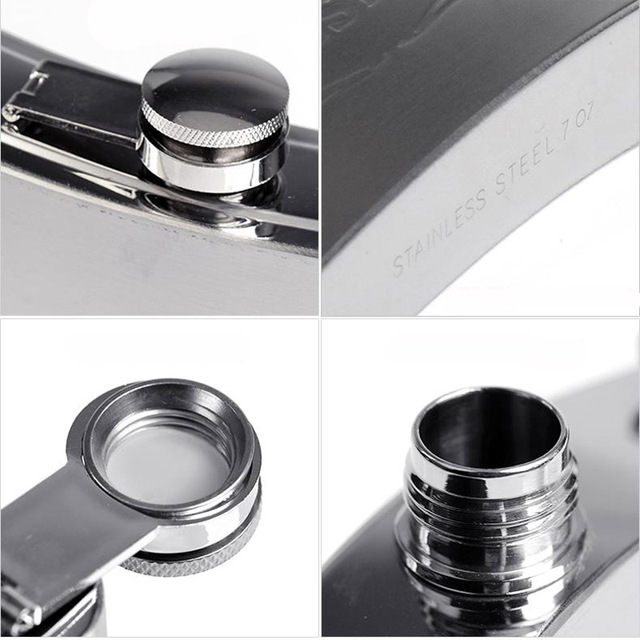 Hot sale metal hip flasks portable flagon stainless steel gifts travel silver whiskey alcohol liquor bottle Male Mini Bottles