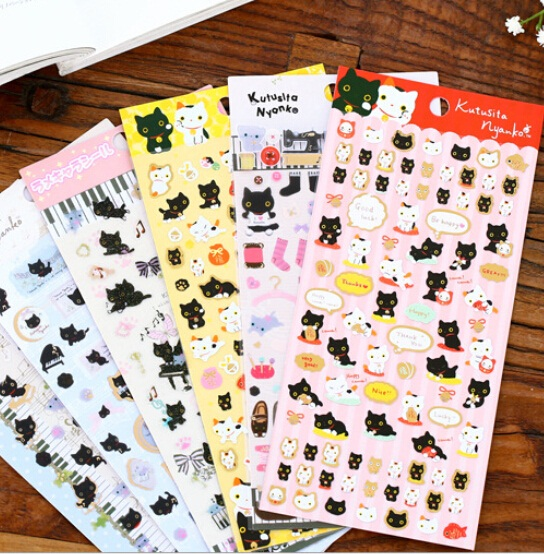 2pack/lot  Japan Kawaii Happy Cat Series Sticker Gilding Style DIY Deco Sticker Office School Supplies