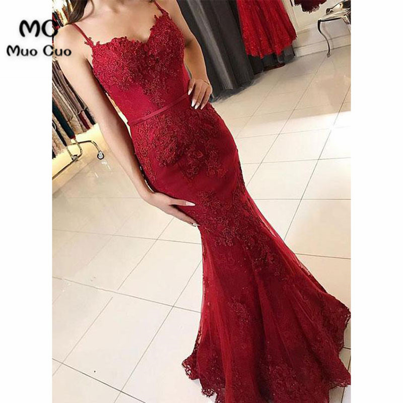 2018 Burgundy Mermaid Evening Dresses Long Sweep Train Spaghetti Straps Floor Length Tulle Formal Evening Party Dress