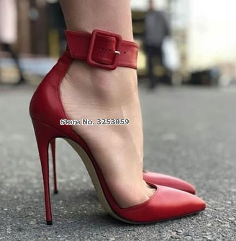 ALMUDENA Top Brand Sexy Red Matte Leather Dress Pumps Square Ankle Buckle Strap Dress Shoes Celebrity Daidy Street Fashion HeelsALMUDENA Top Brand Sexy Red Matte Leather Dress Pumps Square Ankle Buckle Strap Dress Shoes Celebrity Daidy Street Fashion Heels