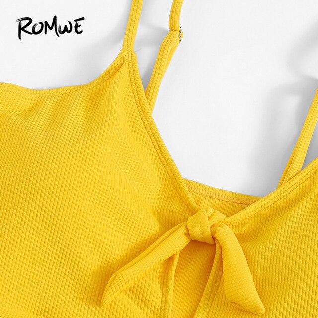 Romwe Спорт Плюс Размер Желтый сплошной ребристый узел спереди Цельный купальник для женщин сексуальный провод бесплатно Лето Монокини купал... 2