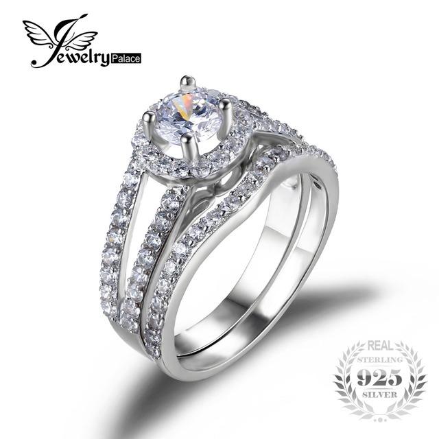 Anel de Noivado Casamento JewelrPalace Sets100 % Puro 925 Anel de Jóias de Prata Fina Moda Jóias para As Mulheres Declaração Anéis Amante