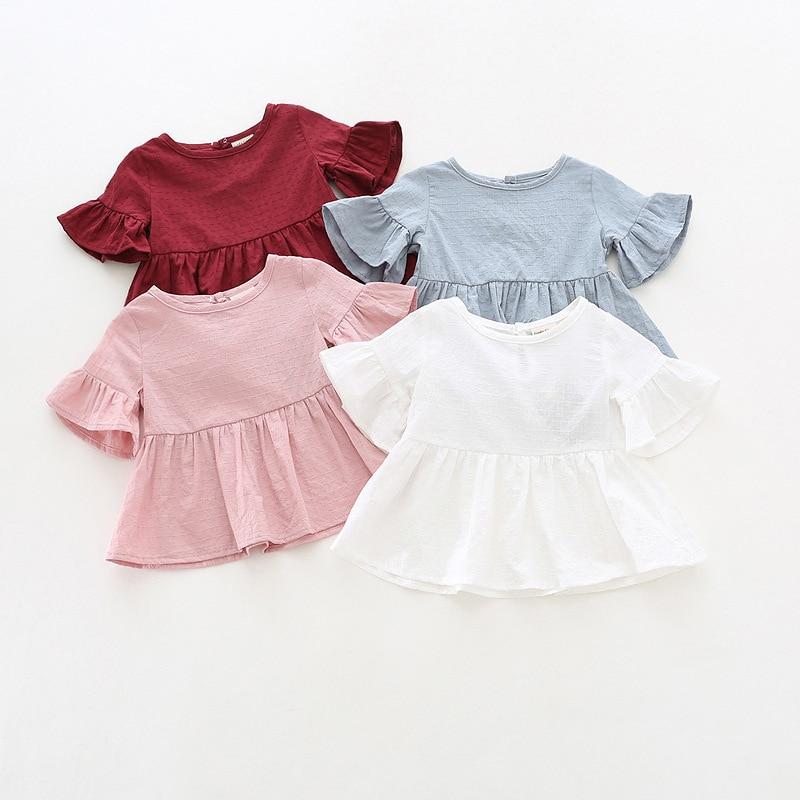 Lotus Blatt Hülse Baby T Shirts Weiß Rosa Gelb Farben Langarm Punkte T-shirt Herbst Baumwolle Tops Baby Mädchen Kleidung