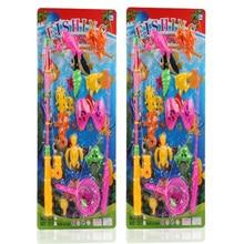 12 stücke Set Magnetic Angeln Spielzeug Spiel Kinder 1 Stange 1 net 12 3D Fisch Baby Badespielzeug Outdoor-spaß