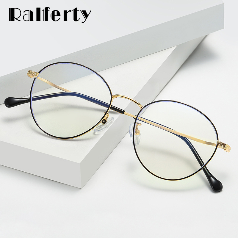 Ralferty Anti Blue Glasses Frame Women Men Round Eyeglasses Optical Myopia Prescription Glasses Spectacle Oculos De Grau D1904