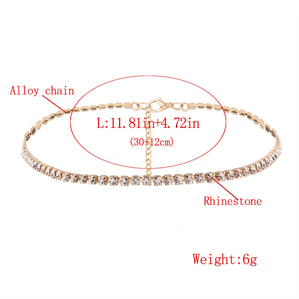 Simple Design Crystal Beads Choker necklace women Statement necklace Sparkly Rhinestone chocker wedding jewellery 1