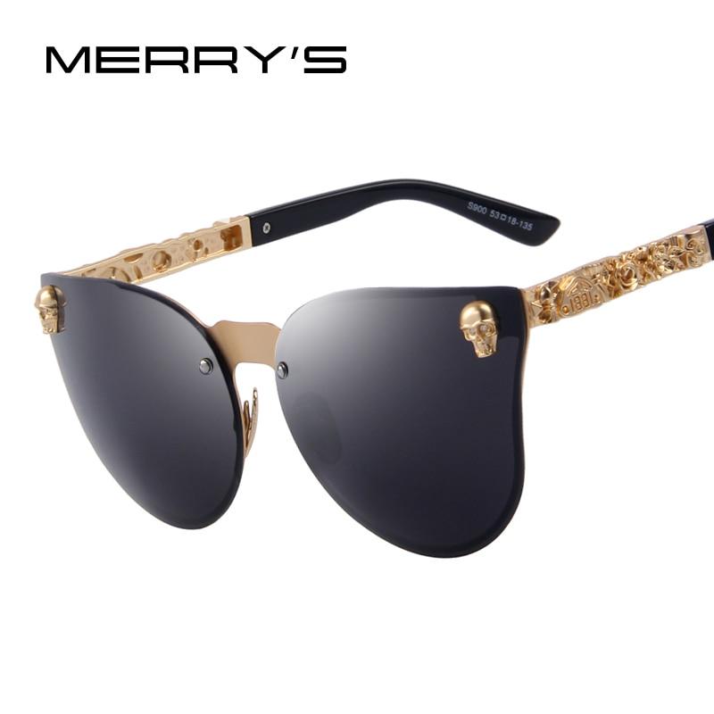 MERRY'S Moda Mulheres oculos de sol UV400 Eyewear Armação De Metal Templo Do Crânio Gótico