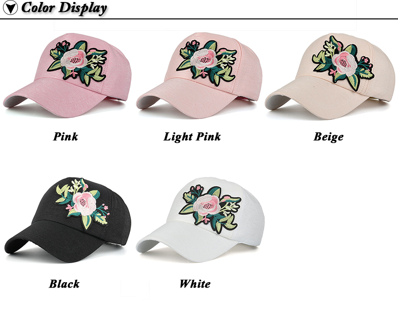 Embroidered Flower Snapback Cap - Available Colors