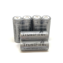 18pcs/lot TrustFire TR 18500 3.7V 1800mAh Lithium Protected with PCB board Rechargeable Battery Point Head For e-cigarette