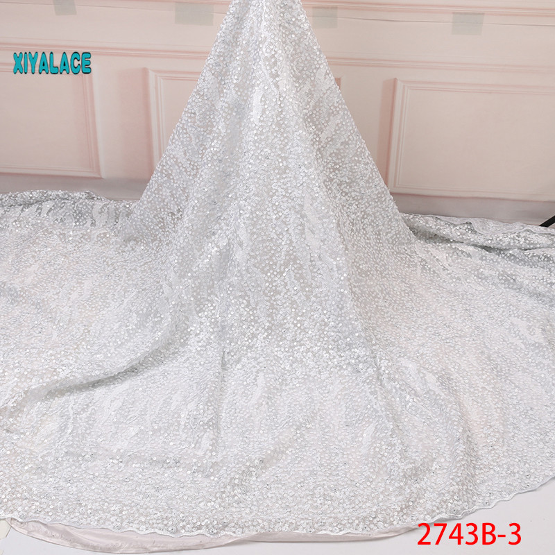 White African Lace Fabric 2019 Nigerian Newest Organza With Sequins Flower Beaded African Wedding Party Dress Women YA2743B-3