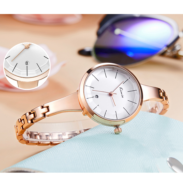KIMIO Women Red Big Dial Waterproof Dress Watches Simple Ladies Rose Gold Color Stainless Steel Bracelet Watch With Calendar