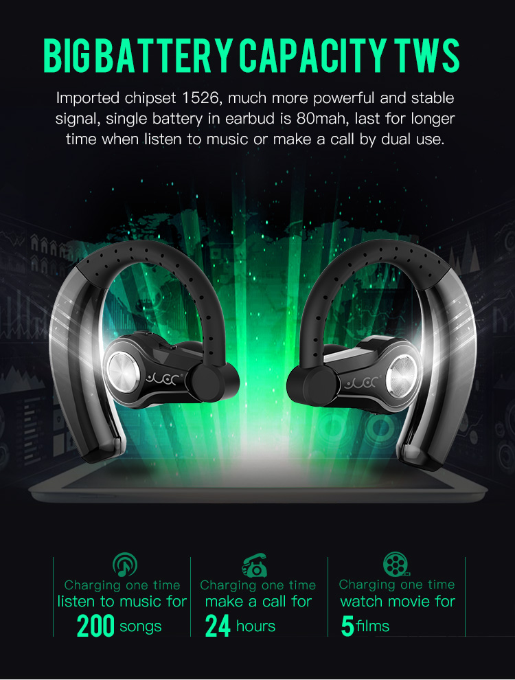 FOZENTO Wireless Bluetooth Earphones T9S Single or Dual Use Ear-hook Style In-ear Wireless Bluetooth 4.1 Earphone Headphones