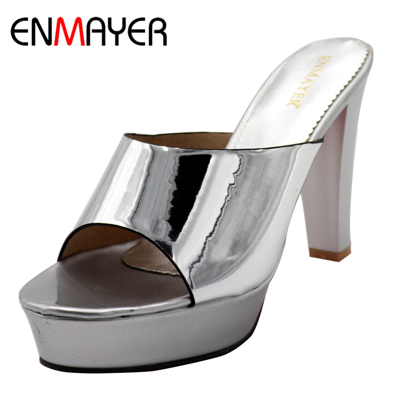 ENMAYERW Summer Casual Women Sandals Pumps Shoes Peep Toe Spike Heels Platform Large Size 34-43 Black Golden Silver apoepo brand 2017 zapatos mujer black and red shoes women peep toe pumps sexy high heels shoes women s platform pumps size 43