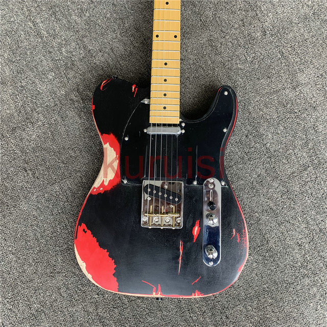 Avril Lavigne is an old electric guitar, retro relic guitar, precision crafted, birthday present. Free shipping. 4