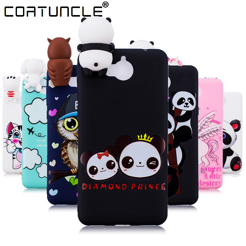 Coatuncle Phone Cases For Fundas Huawei Y5 2017 Case Soft Tpu Candy Color Panda Cartoon Back Cover For Coque Huawei Y6 2017 Case