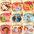New Coin Purses Women Kids Girls Cartoon Elsa Anna Snow Queen Portable Waterproof Wallet Purse Handbag princess money bag