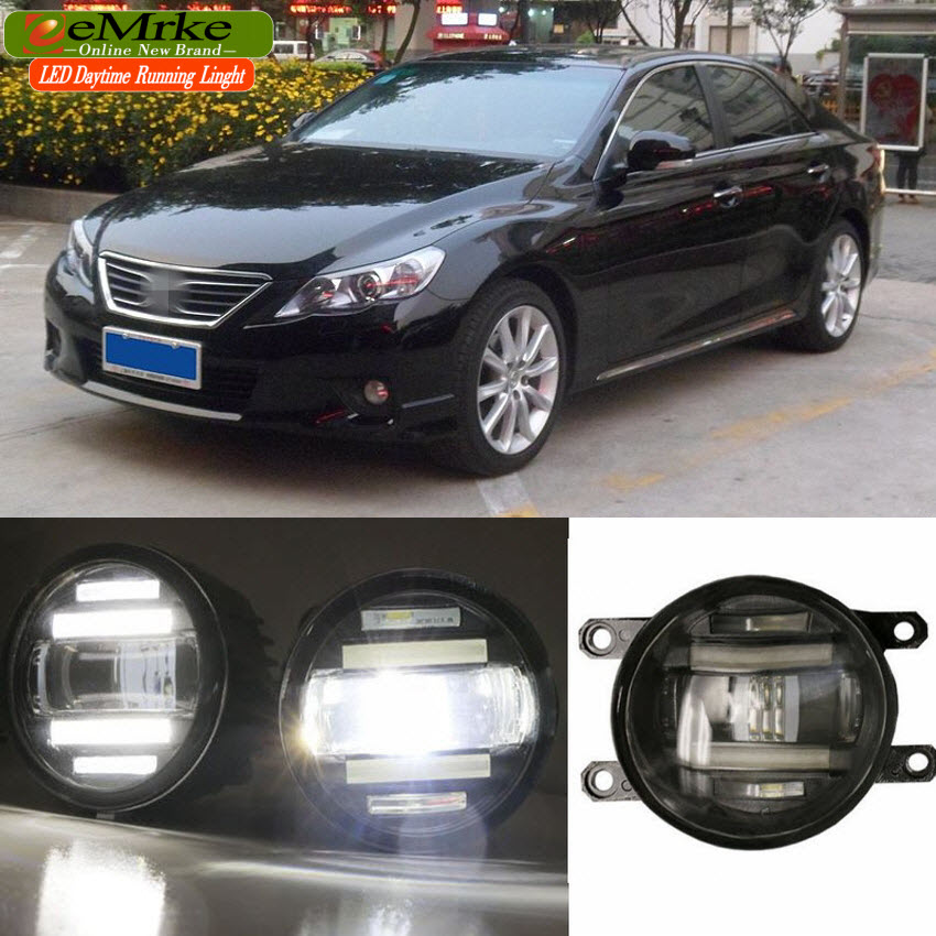 eeMrke Xenon White High Power 2in1 LED DRL Projector Fog Lamp With Lens For Toyota Reiz Mark X 2010 2011 2012 2013 2014 eemrke xenon white high power 2 in 1 led drl projector fog lamp with lens daytime running lights for renault kangoo 2 2008 2015