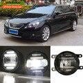 eeMrke Xenon White High Power 2in1 LED DRL Projector Fog Lamp With Lens For Toyota Reiz Mark X 2010 2011 2012 2013 2014