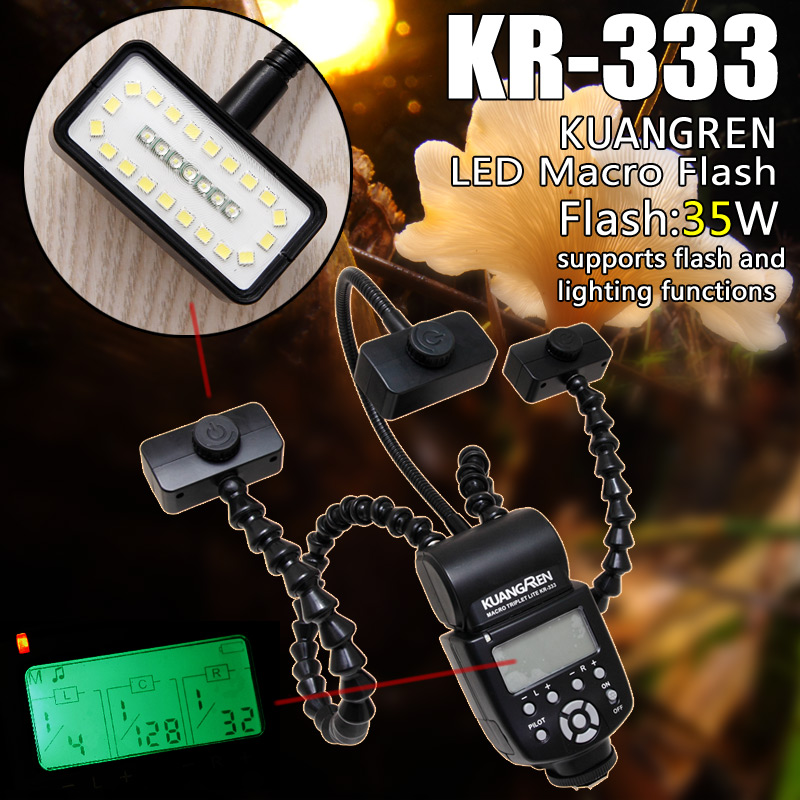 KUANFREN KR-333 LED Macro Flash Arbitrary Angle Speedlite for Nikon Canon Panasonic Olympus MI-Sony brand DSLR Camera godox tt560 camera flash speedlite for canon 60d 550d 600d 700d 1000d 1100d nikon sony panasonic olympus fujifilm dslr cameras
