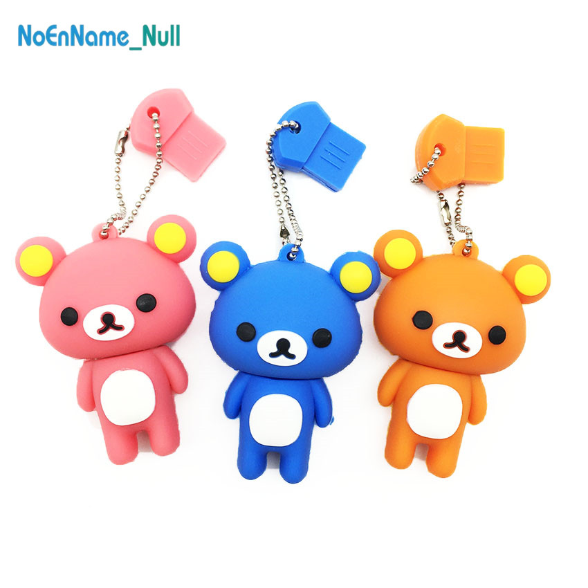 New cartoon usb flash drive 2.0 128GB Bear usb stick 32GB 4GB 8GB 16GB 64GB pendrive Rilakkuma pen drive Cute gift free delivery-in USB Flash Drives from Computer & Office