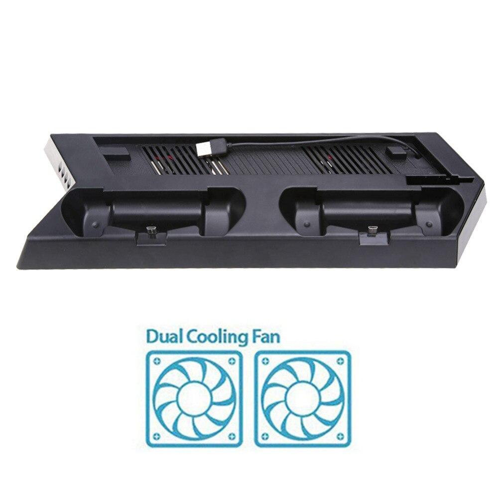 Console di Gioco verticale Del Basamento Del Bacino Doppio Controller di Gioco Gamepad USB Charger Stazione Holder con Ventola di Raffreddamento per PS4 Console Slim