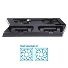Вертикальный игровой консоли Подставка Dock двойной игровой контроллер геймпад USB Зарядное устройство станции держатель с охлаждающим вентилятором для PS4 Slim консоли