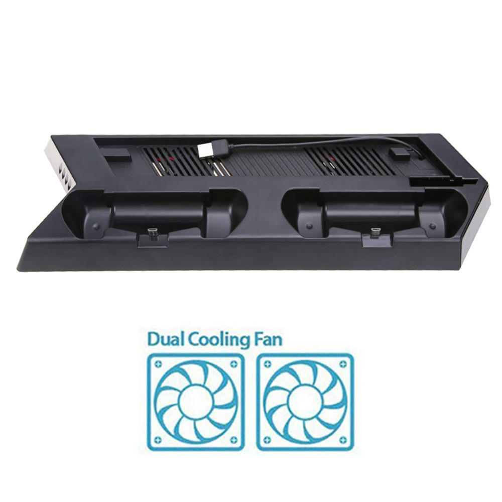 For PS4 Slim Console Vertical Game Console Stand Dock Dual Game Controller Gamepad USB Charger Station Holder With Cooling Fan