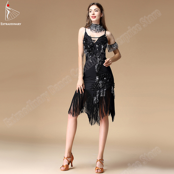 New Women Latin Dance Dress For Ballroom Dancing Skirt Clothes Sequins Costume Set Fringed Dress Latin Sexy Stage Performance children s latin dance costume costume children s latin dance dress new sequins tassel skirt dresses stage performance costumes