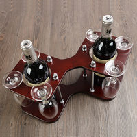 Creative Wooden Wine Bottle Stand and Goblet Glass Hanger Rack Decorative Drinking Facility Barware Craft Ornament Accessories