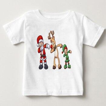 Harajuku Unicórnio Enxugando/Alces/Boneco de Neve/Coelho Impresso Casual Crianças T Shirt Meninos e Meninas Engraçadas Encabeça Crianças grande T-Shirt camisa