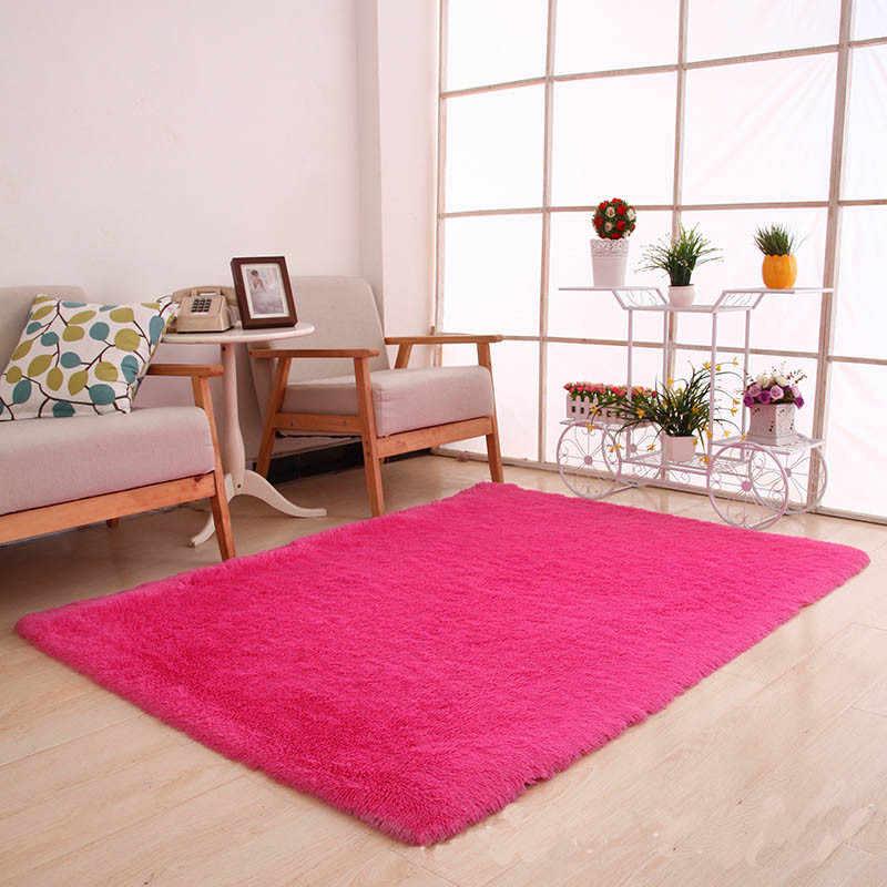 Alfombra para sala de estar 2019, alfombrilla mullida europea, alfombra para habitación de niños, manta para dormitorio, manta antideslizante suave de piel sintética, alfombra para dormitorio y yoga