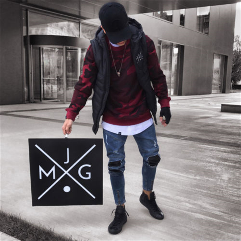 2018 New Brand Fashion Men's Ripped Skinny Biker Jeans Destroyed Frayed Slim Fit Denim Pants Stylish Men's Hole Denim Pant S-2XL