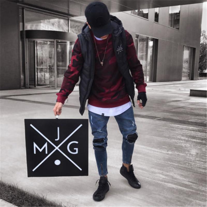 2018 New Brand Fashion Men's Ripped Skinny Biker Jeans Destroyed Frayed Slim Fit Denim Pants Stylish Men's Hole Denim Pant S-2XL