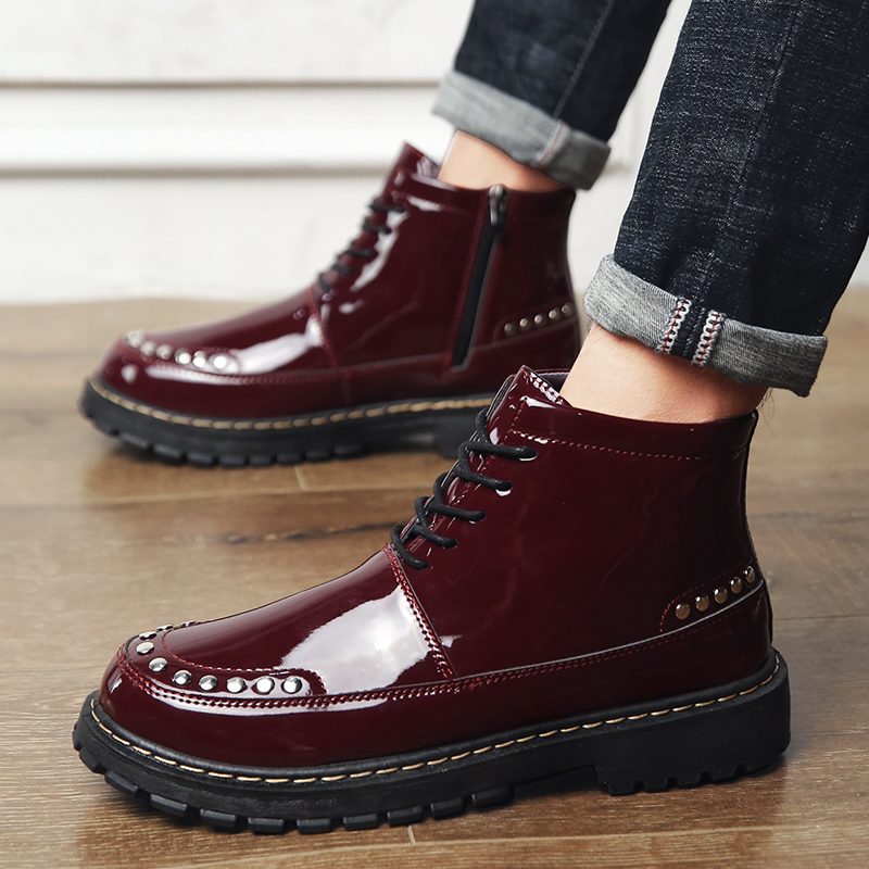 d2a373b1e858 Man Martens Boots Wine Red Black Men Fashion Boots Spring Autumn Mens Thick  Sole Shoes Comfortable Casual Shoes For Male