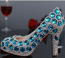 Platforms luxury rhinestones parties pumps shoes for woman blue crystal big stones wedding party shoes high heels TG341