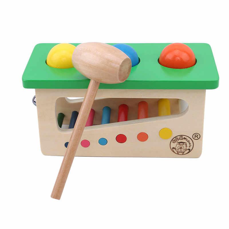 Nuevo arcoíris que zumban la mesa de Kicking mesa con campanas Juguetes Educativos de madera para niños mesa de campana de rompecabezas de 1-3 años de edad