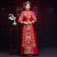 Luxury Ancient Royal Red Chinese Wedding Dress Traditional Bride Embroidery Cheongsam Women Oriental Dragon Phoenix QiPao S-XXL
