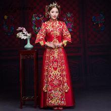 Luxury Ancient Royal Red Chinese Wedding Dress Traditional Bride Embroidery Cheongsam Women Oriental Dragon Phoenix QiPao S-XXL все цены
