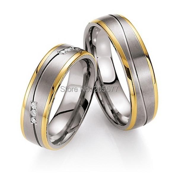 Haut de gamme pas cher personnalisé tailleur titane fiançailles bagues de mariage ensembles