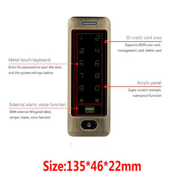 Free Shipping Waterproof Metal Touch 8000 Users Door RFID Access Control Keypad Case Reader 125khz EM4100 ID Card