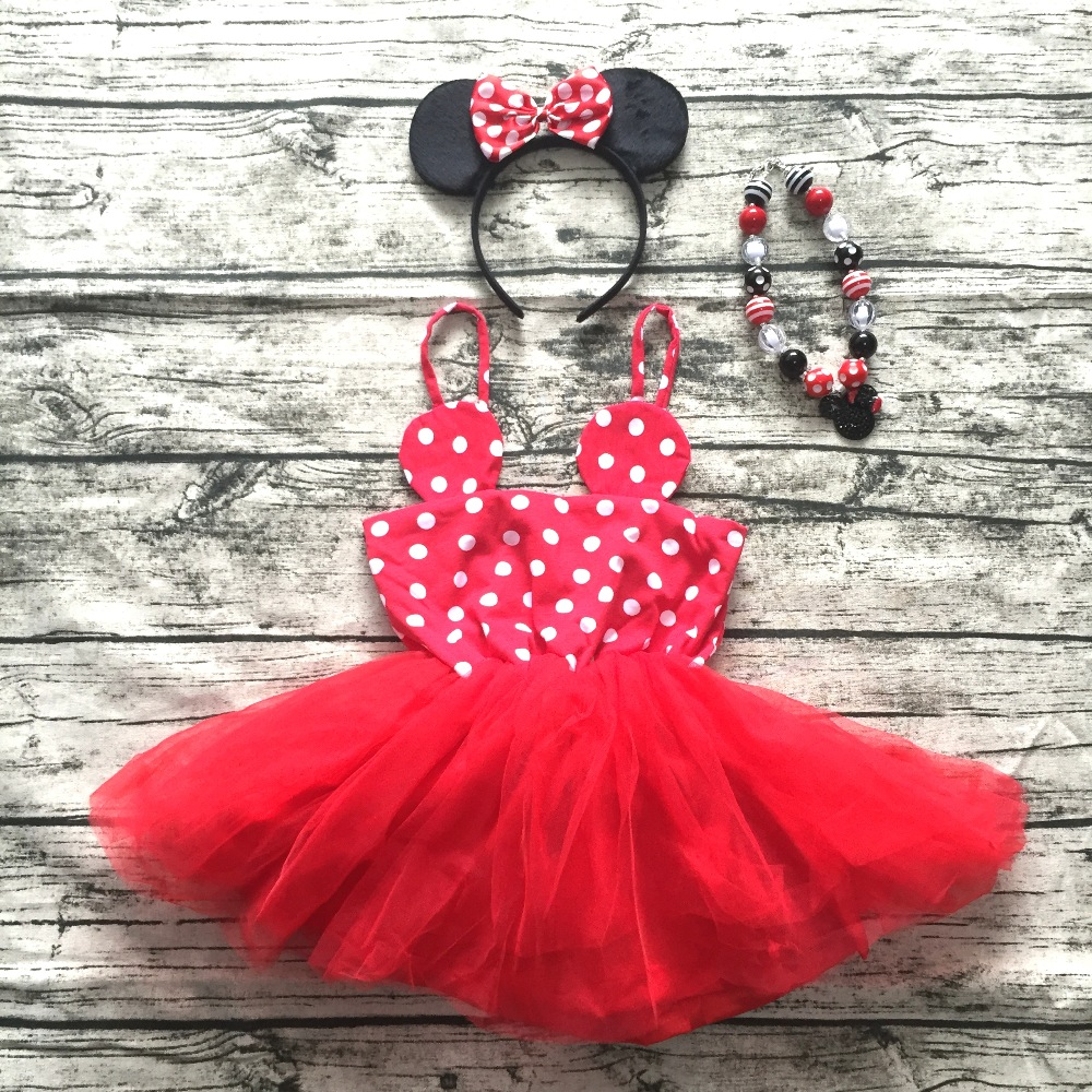 2016 new girl summer dress Infant Dresses kids minnie mouse dress Lovely girl Dress with necklace girl summer outfits boutique 2017 new elecom 2 4g mini mouse vwith charging for home office general balls the mouse girl
