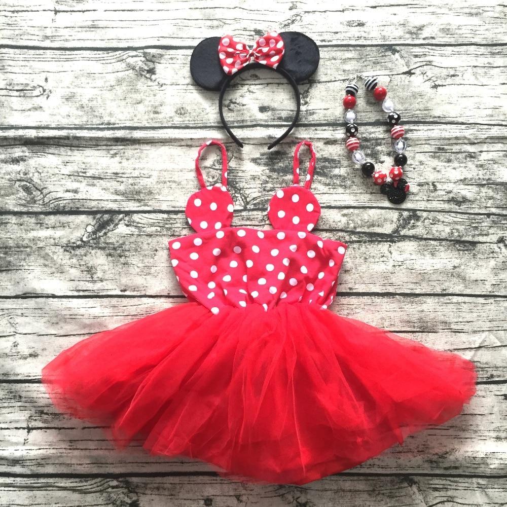 2018 Neue Mädchen Sommerkleid Infant Kleider Kinder Minnie Maus Kleid Schöne Mädchen Kleid Mit Halskette Mädchen Sommer Outfits Boutique