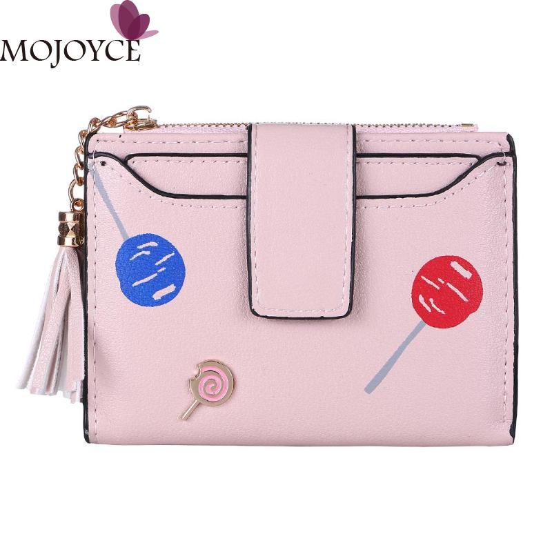 Women Cute Printed Bifold Wallets High-grade PU Tassels Card Holder Short Clutch Purse Ladies Fashion Shopping Hasp Purse New