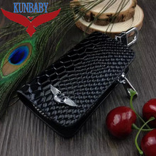 KUNBABY Snakeskin Leather Auto Car Key Remote Cover Case Holder Car Key Case Wallet Bag Ring Keychain For Bentely Free Shipping