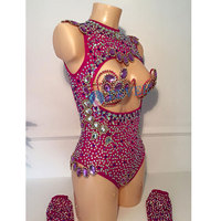 Sexy backless Bikini Women Costume Rhinestone crystal Heart bra Nightclub Bar Stage Outfits Model Catwalk Samba Carnival Wear
