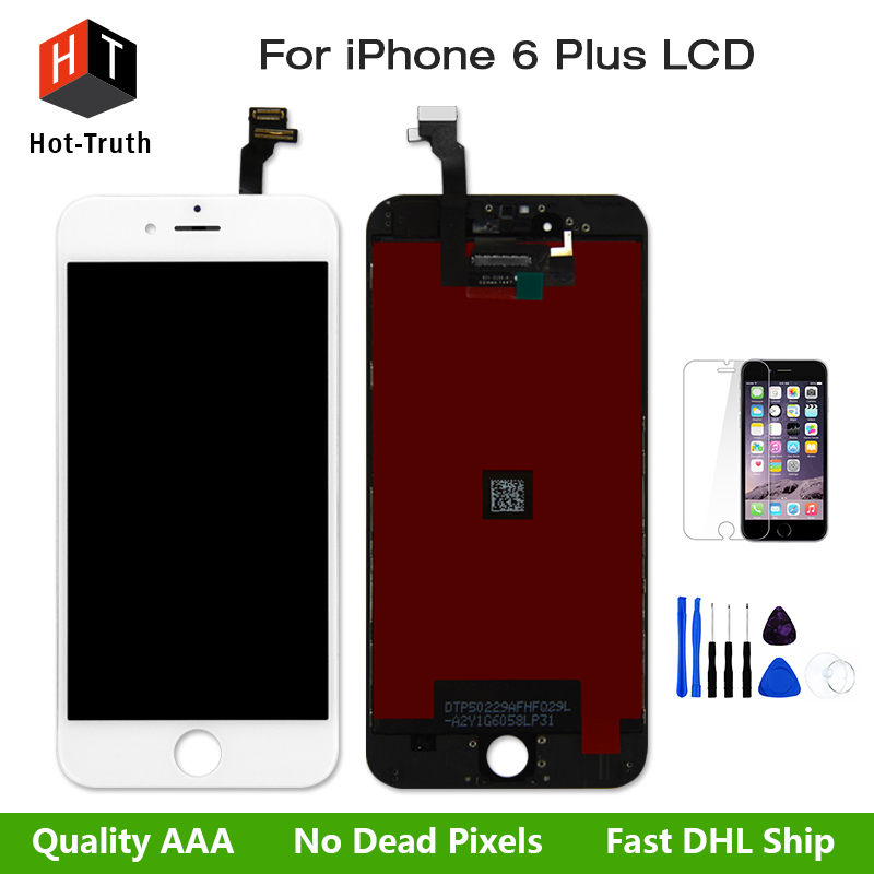 100%Tested Great Lcd Display For iPhone 6 Plus LCD Touch Screen AAA Digitizer Assembly+Free Tools+Protector+Shipping Black&White 1 pcs for iphone 4s lcd display touch screen digitizer glass frame white black color free shipping free tools